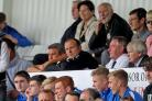 FRUSTRATED: Newport County manager Warren Feeney watches from the stands at Hartlepool United. Picture: Huw Evans Agency