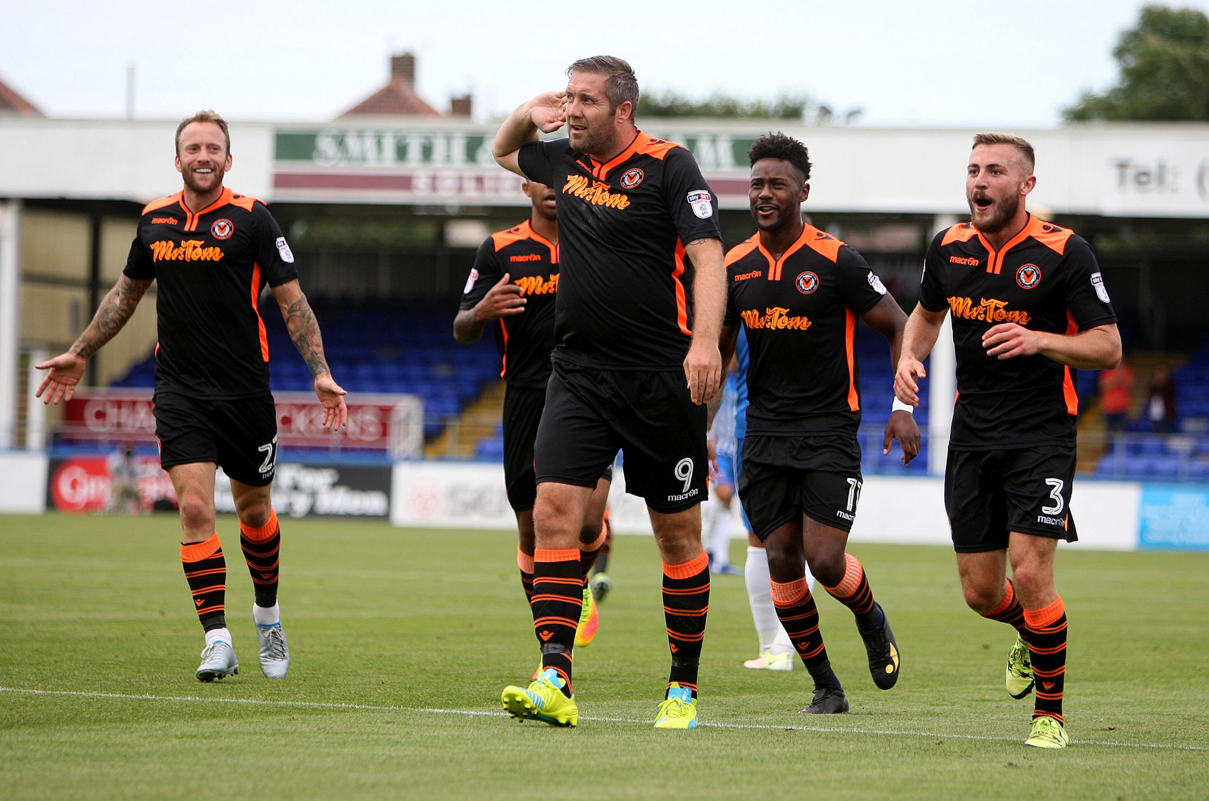 GOAL: Jon Parkin celebrates after putting Newport County 2-1 up at Hartlepool United. Picture: Huw Evans Agency