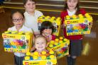 HAPPY: (L-R) Angel Ke, Max Philpot, Freya Nunnick,  Amy Ke and Ellie-Rose Whittaker with their LEGO prizes