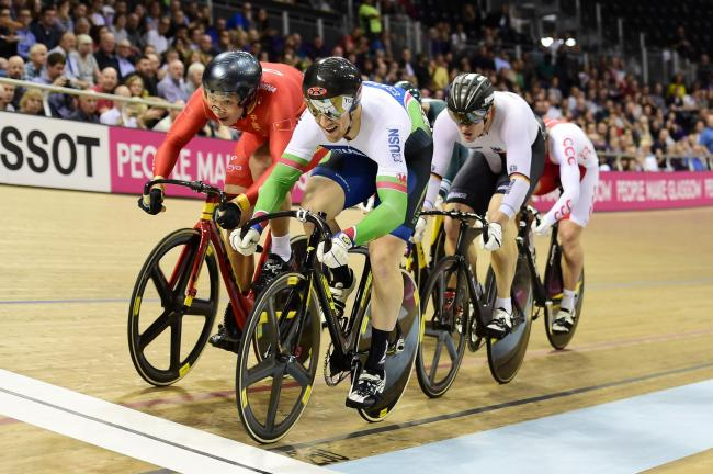 BRONZE: Monmouthshire's Lewis Oliva in action in the men's Keirin round one repechage at the Track Cycling World Cup in Glasgow. Picture: SWPix.com