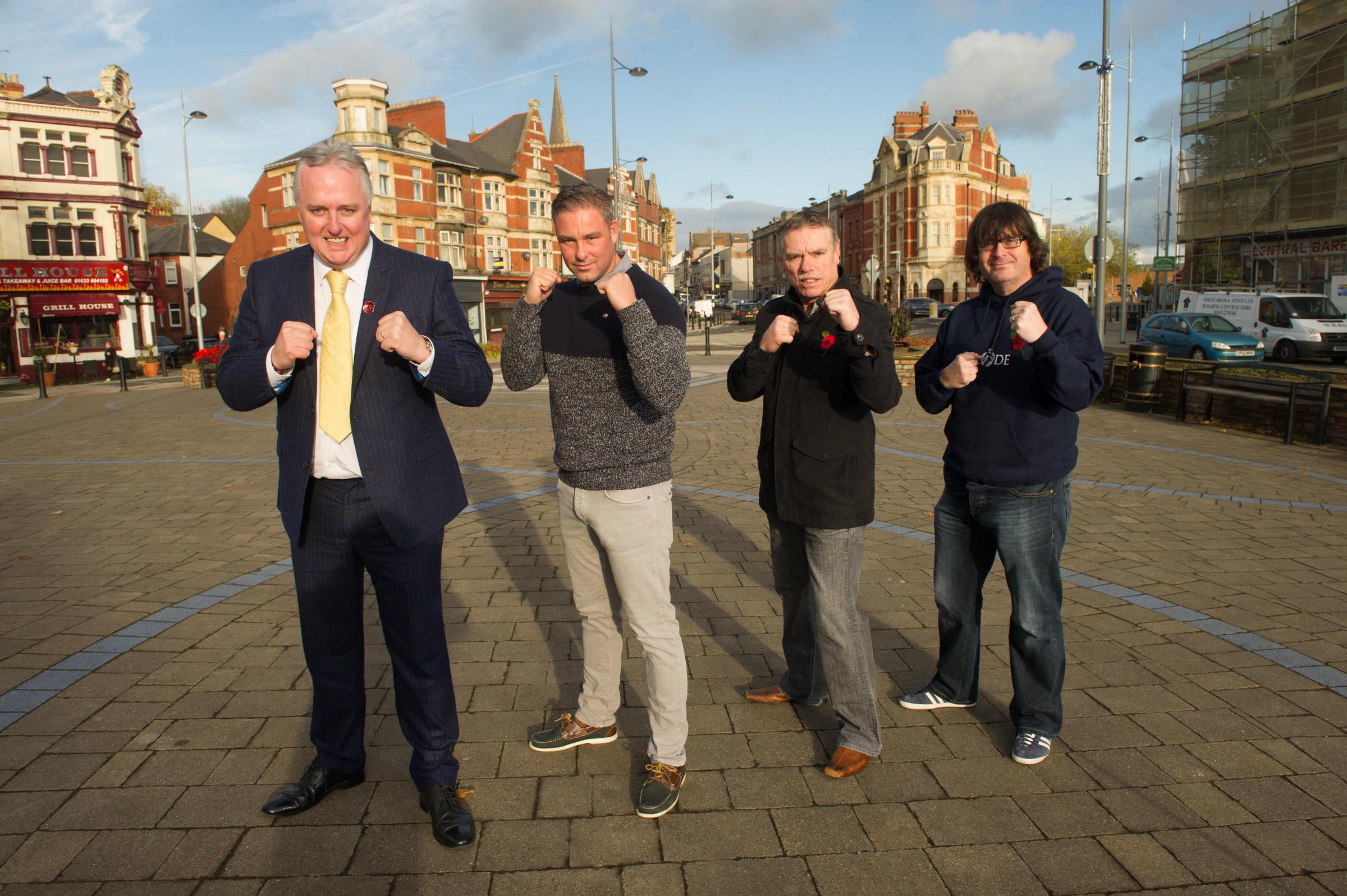 (L-R) Andrew Collingbourne, Luke Pearce, councillor Kevin Whitehead and Rob Santwris who are fundraising to erect a state to Newport boxer David Pearce on Gilligan's Island, the proposed site of the statue