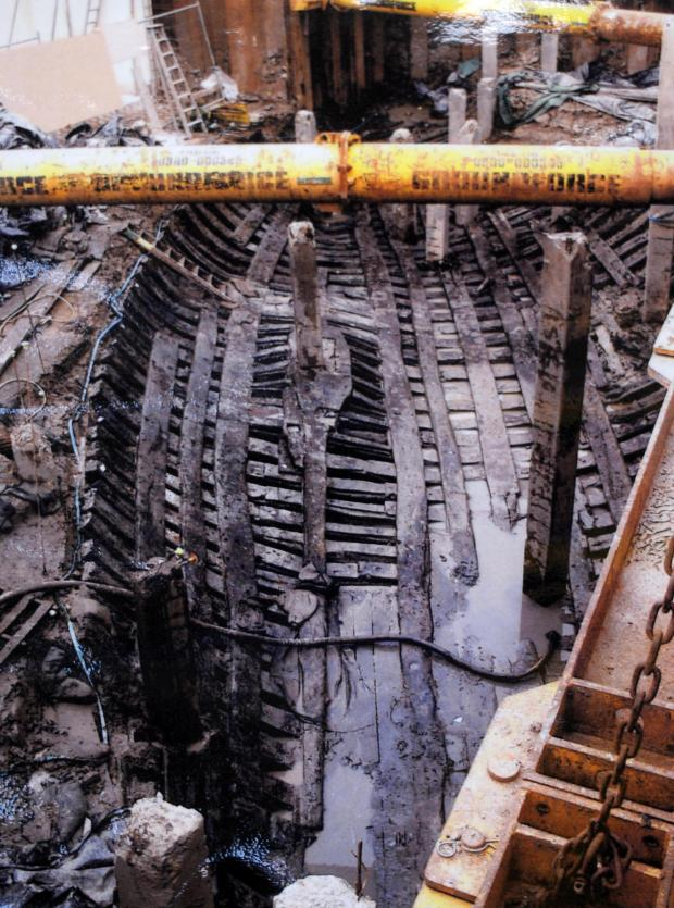 South Wales Argus: Excavation of the Newport Ship from the banks of the River Usk.