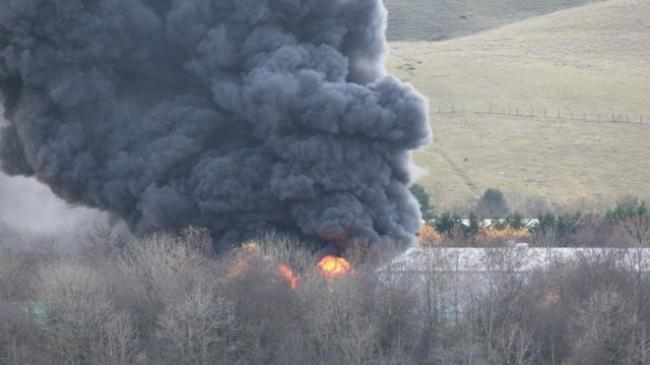 100-tonne plastic fire at Gwent valley estate near Rhymney (Caption: Martin Kingston)