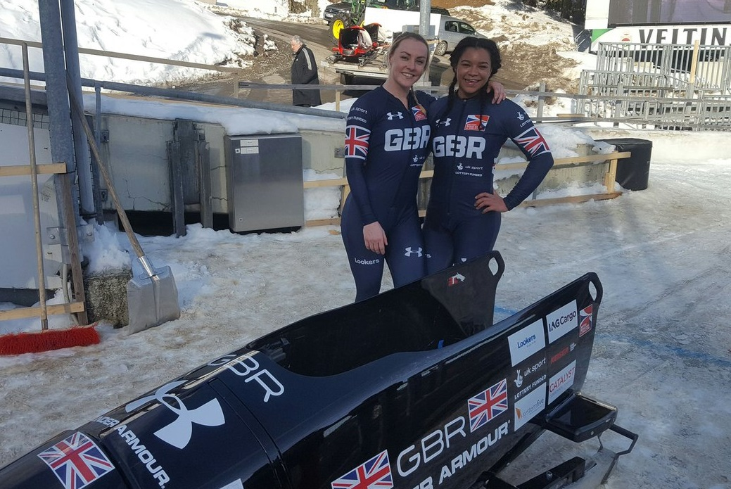 OLYMPIANS: Newport's Mica Moore, right, with Team GB bobsleigh pilot Mica McNeill. The duo will start their 2018 Winter Olympics medal bid today