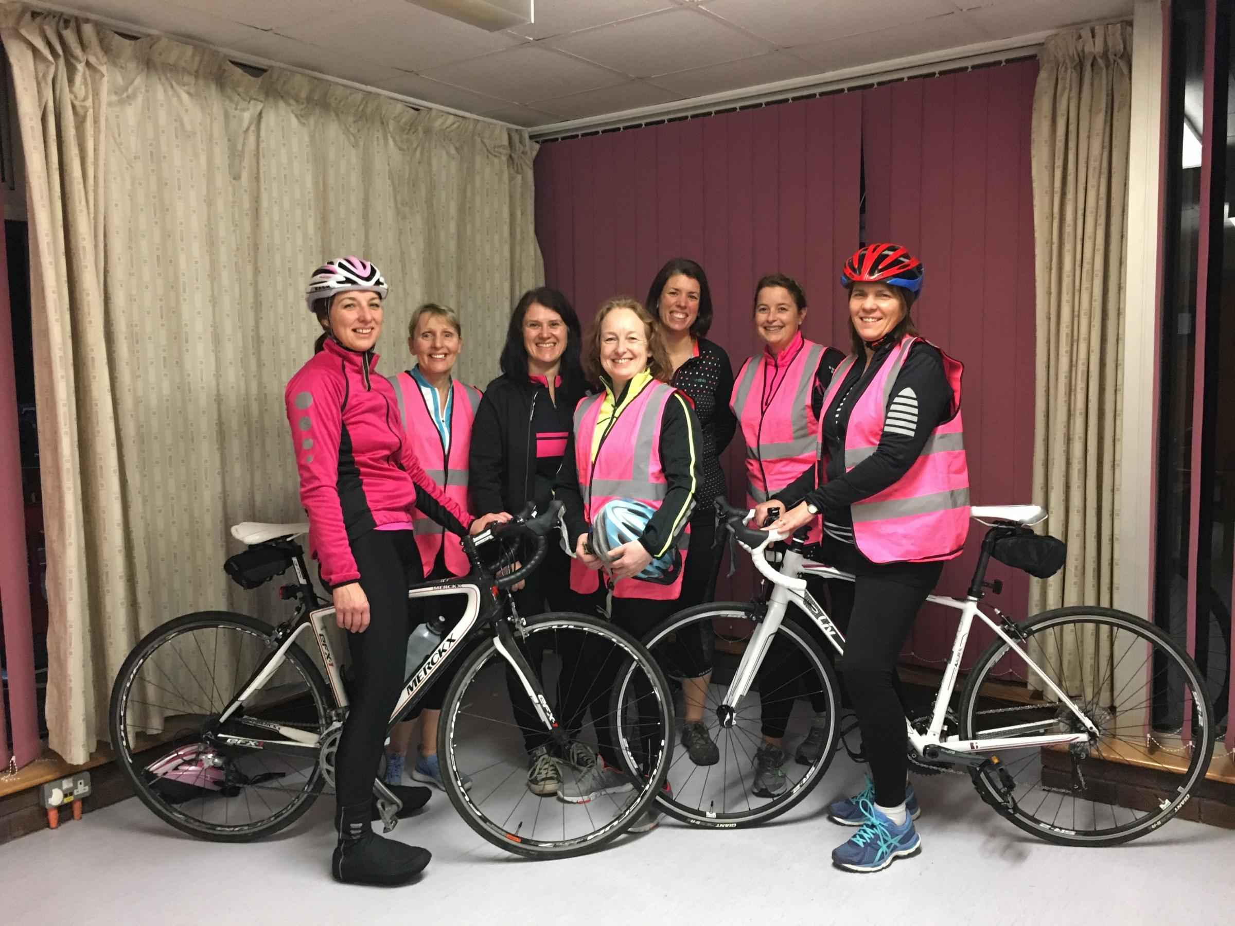 GIRLS: L-R Wendy Scrimgeour, Mandy Jones, Pippa Nicholas, Haf Lane, Kate Taylor, Jo Price and Brydon Williams. The missing rider is Leanne Ball