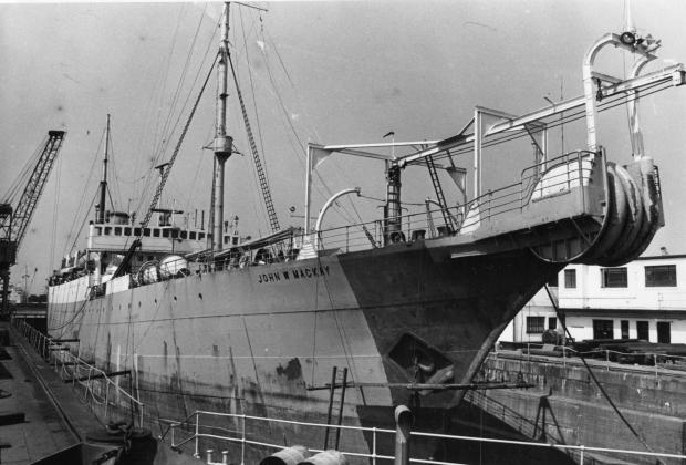 South Wales Argus: CABLE-LAYER: The John W Mackay in dry dock at Newport