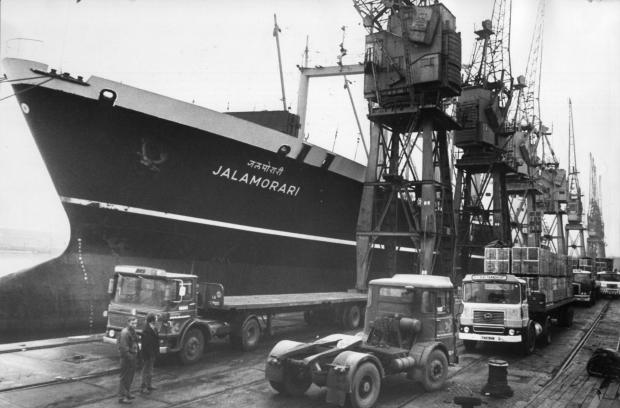 South Wales Argus: DOOMED: The Bombay-registered Jalamorari alongside at Newport docks in 1975
