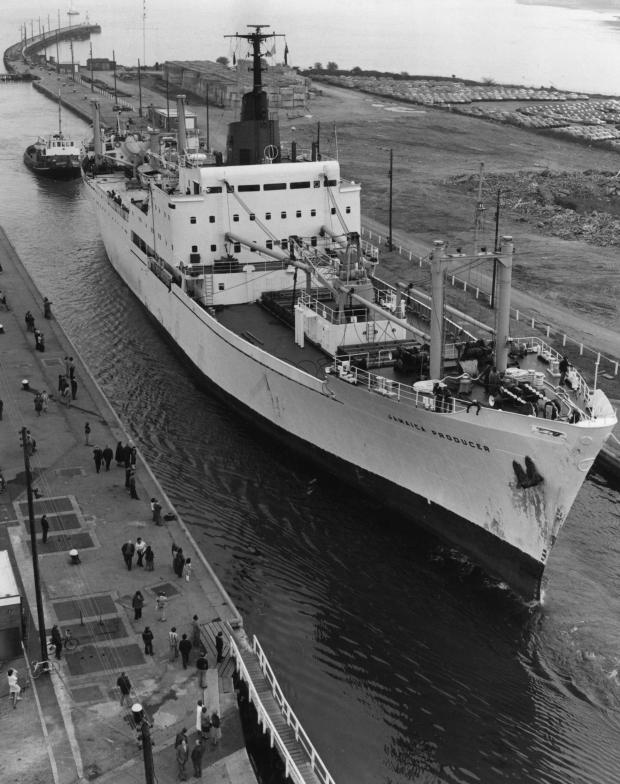 South Wales Argus: DOCKING: The Jamaican Producer entering Newport docks in 1980