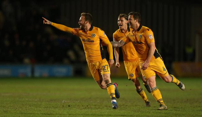 GOAL: Sean Rigg celebrates with Newport County teammates Sid Nelson and Darren Jones after his equaliser against Luton Town in March 2017