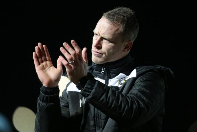 POSITIVE: Newport County boss Michael Flynn thanks the fans after the 1-1 draw with Luton Town in March 2017