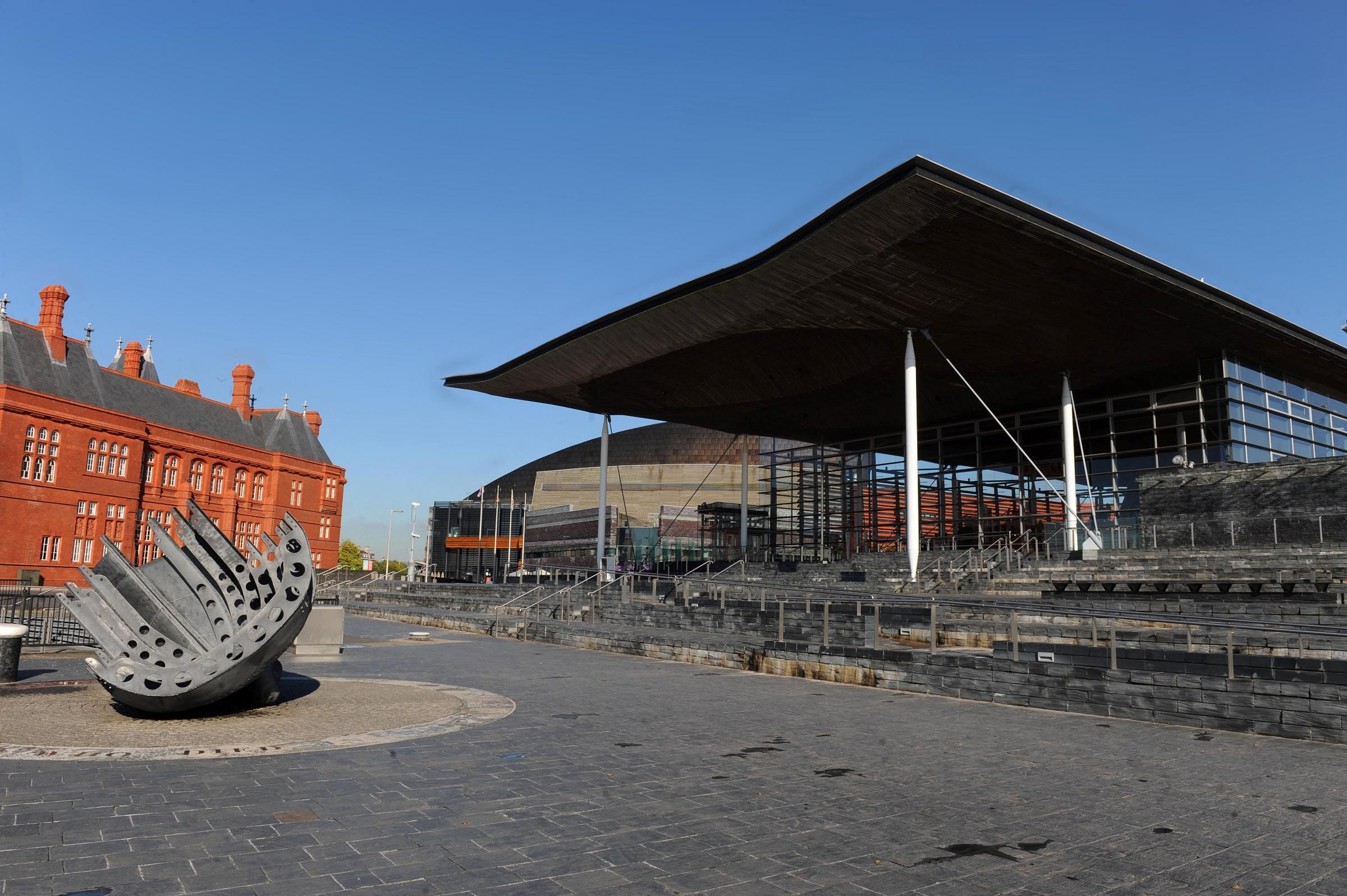 The Senedd and the old Coal exchange at Cardiff Bay.