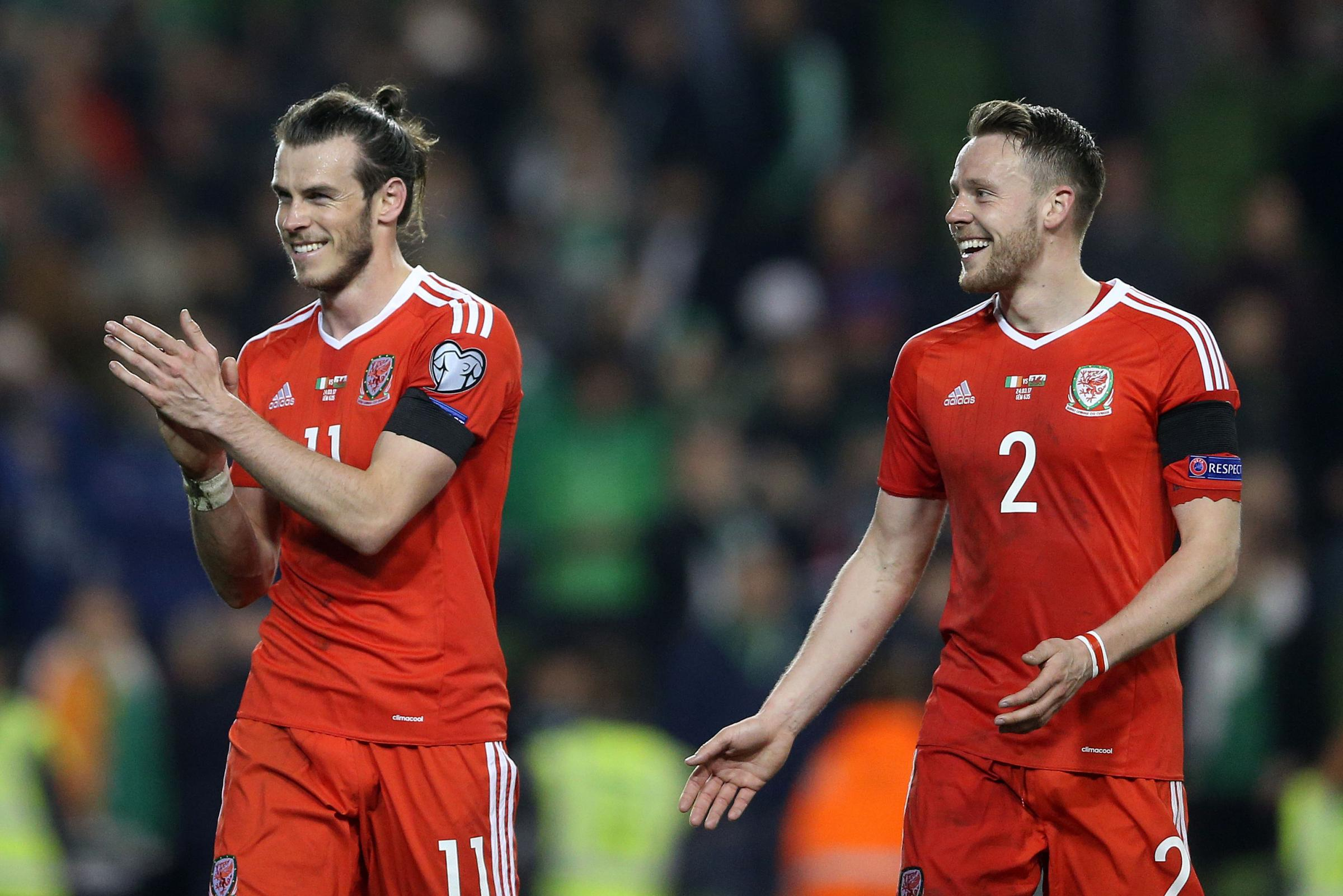 POSITIVE: Wales' Gareth Bale and Chris Gunter after Friday's draw against Ireland in Dublin