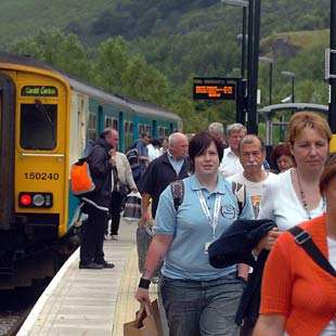 BUSY: The Ebbw Vale to Cardiff train is being used by about 200,000 since it opened