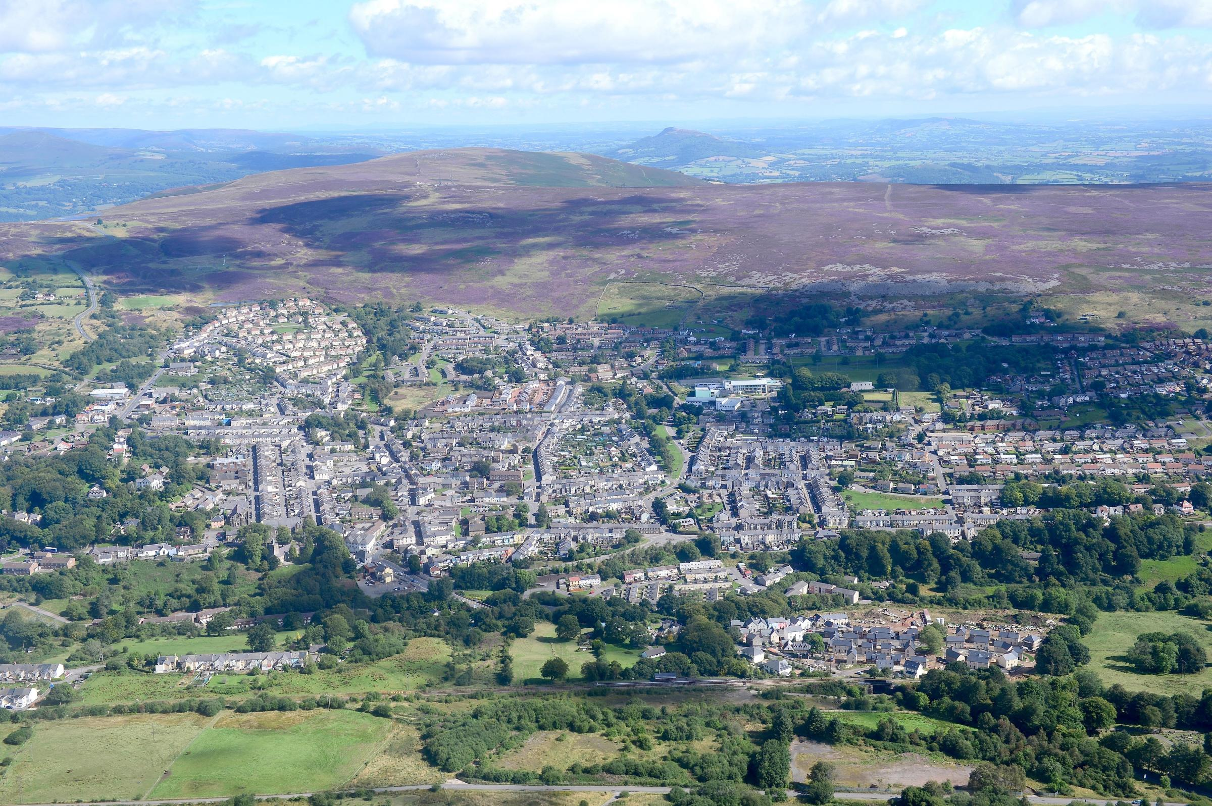 Aerial of Blaenavon World Heritage Town.