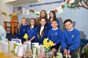 Bryn Primary School of the week. Year 5 and 6 business enterprise selling Easter products they have designed and made.