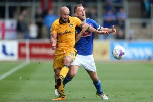 BATTLE: Newport County's David Pipe in action at Carlisle United. Picture: Huw Evans Agency