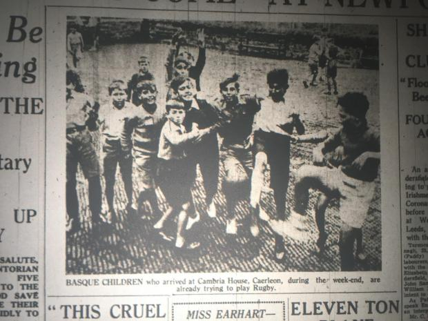 "South Wales Argus: SAFE: Basque children at Cambria House in Caerleon. ""They are already trying to play rugby"" the Argus told us."