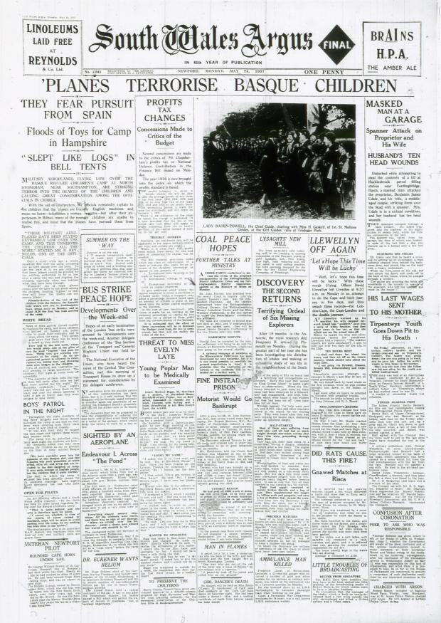 South Wales Argus: REPORT: The front page of the Argus on May 24 1937 which told how Basque refugee children were traumatised