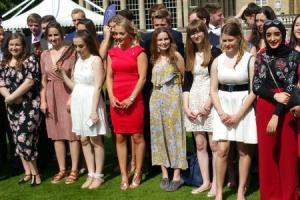 Kaitlyn Guy (third from right) at Buckingham Palace last week