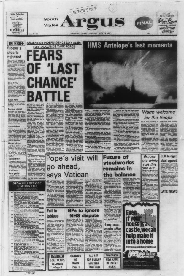 South Wales Argus: DRAMATIC: A bomb on HMS Antelope explodes in San Carlos Water