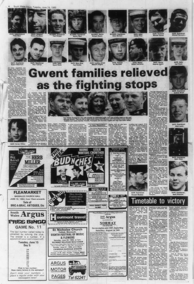 South Wales Argus: TOLL: The Argus reported on the known casualties from Gwent at the end of the war