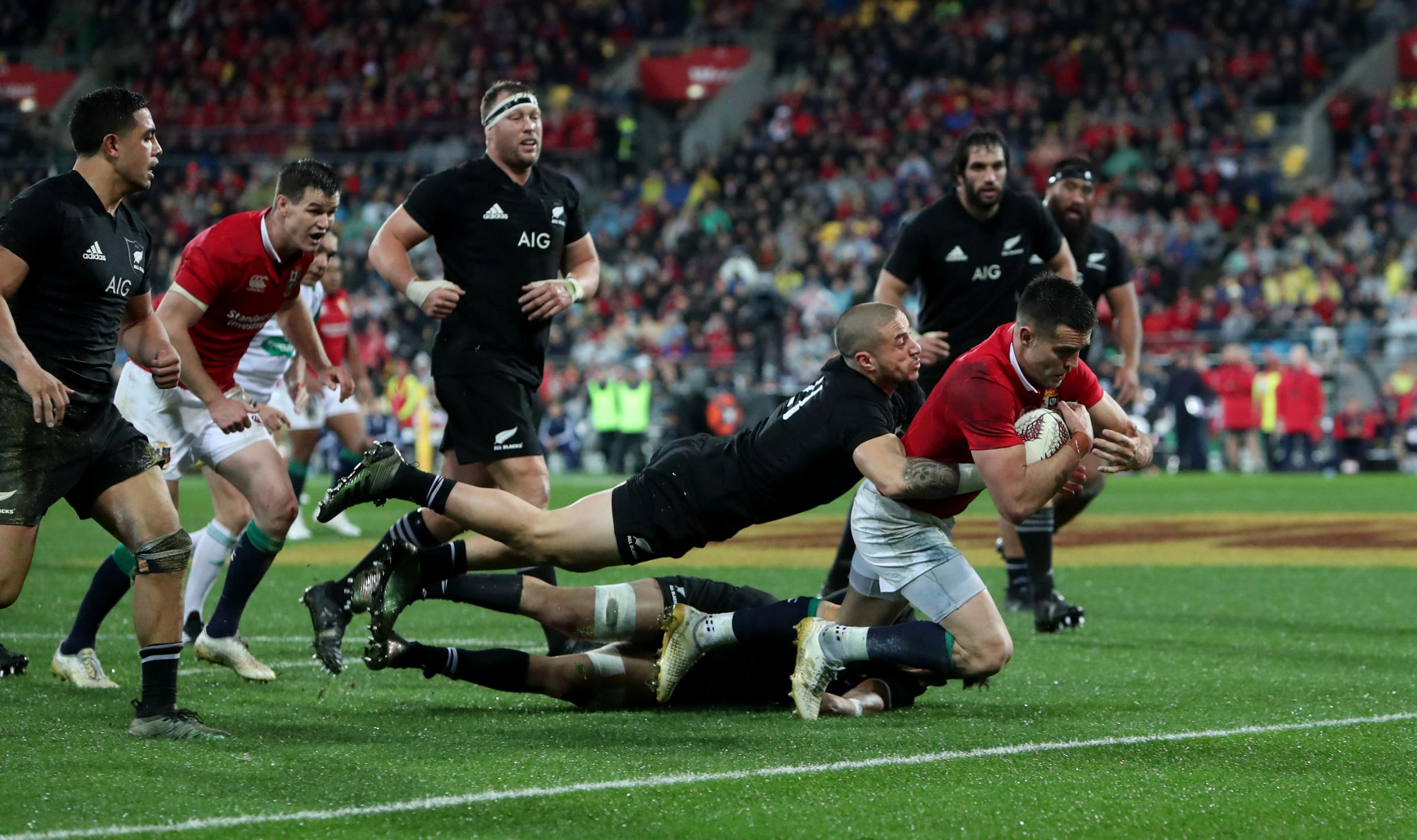 GAME CHANGER: Conor Murray goes over for the Lions' second try