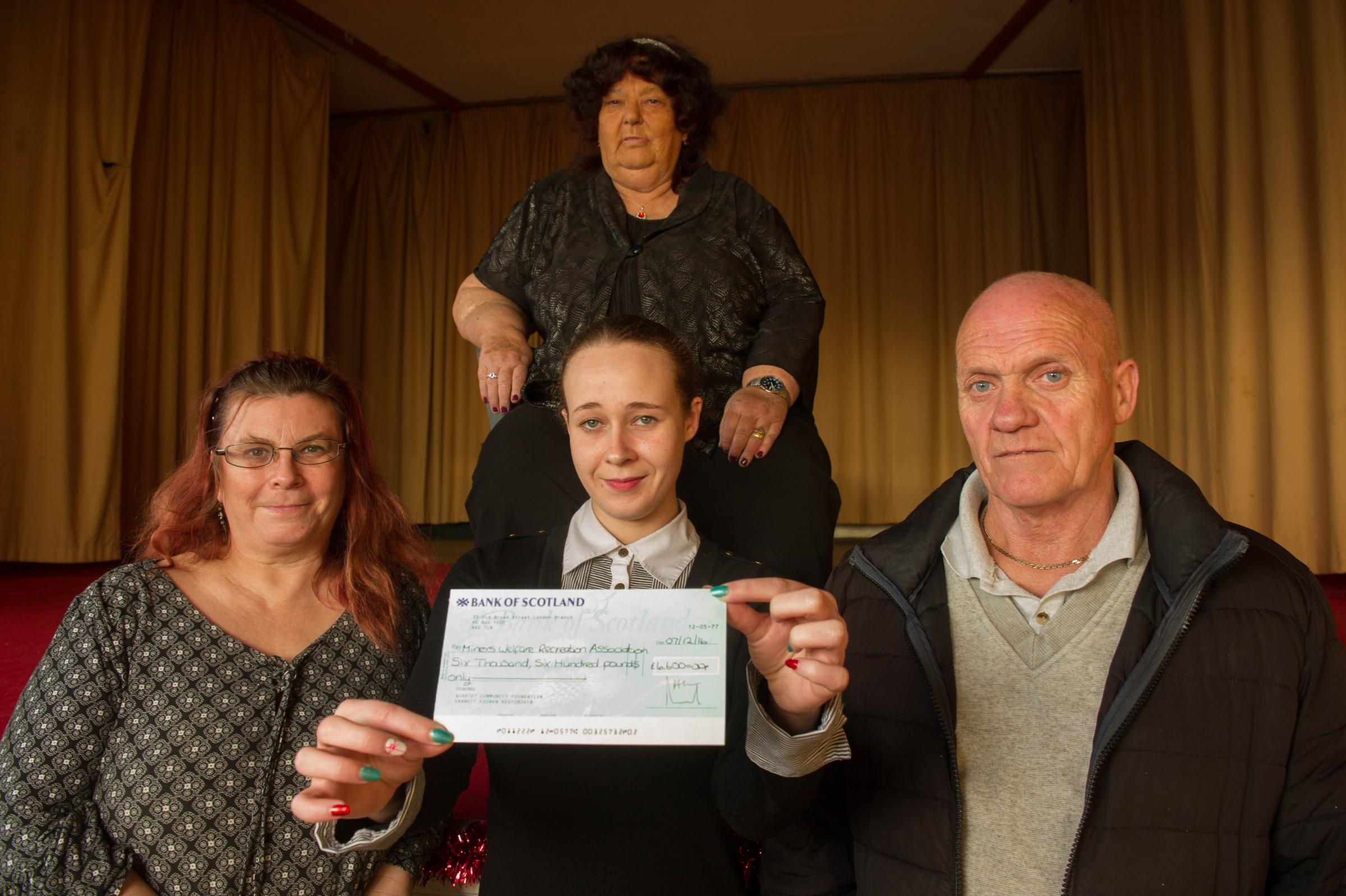 (L-R) Khadija Messaoudi (manager), Danielle Murphy (secretary), Julie Stadddon (treasurer) (rear) and Nigel Wheatsone (caretaker) of the Miners Welfare Recreation Association have been awarded £6,600 by the Gannett Foundation.