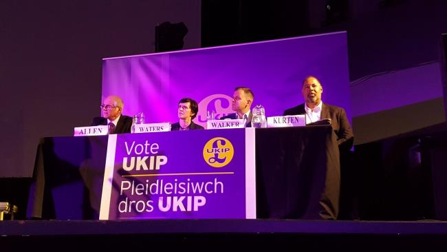 Ukip leadership hopefuls (L-R) David Allen, Anne Marie Waters, Ben Walker and David Kurten at the hustings arranged by the party's Newport branch.