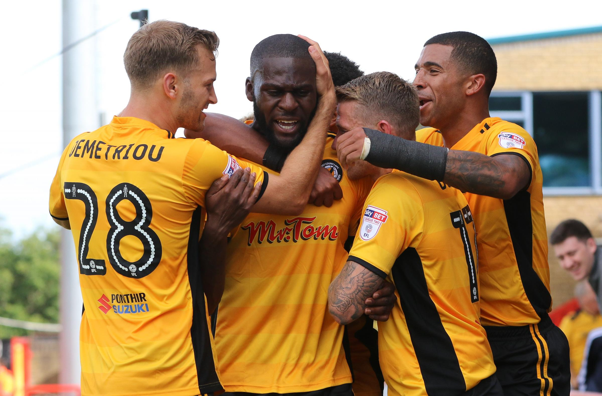 CELEBRATION: Frank Nouble is the League Two player of the month for August