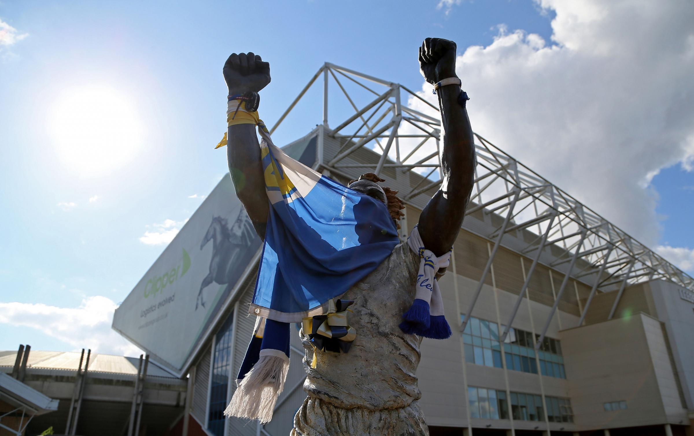 GIANTS: Newport County fans will be welcomed by the Billy Bremner statue at Leeds United's Elland Road ground next week