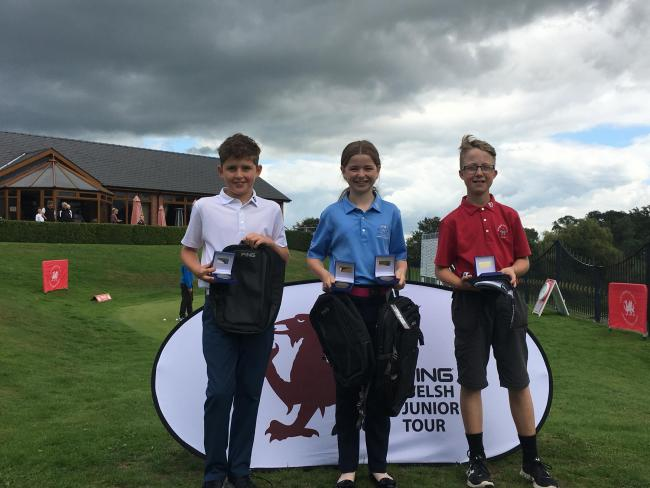 GREAT FORM: Ping Welsh Junior Tour under 14s event winner at Lakeside Jessica Atwell with Osian Jones, second, and Owen Warwick, third