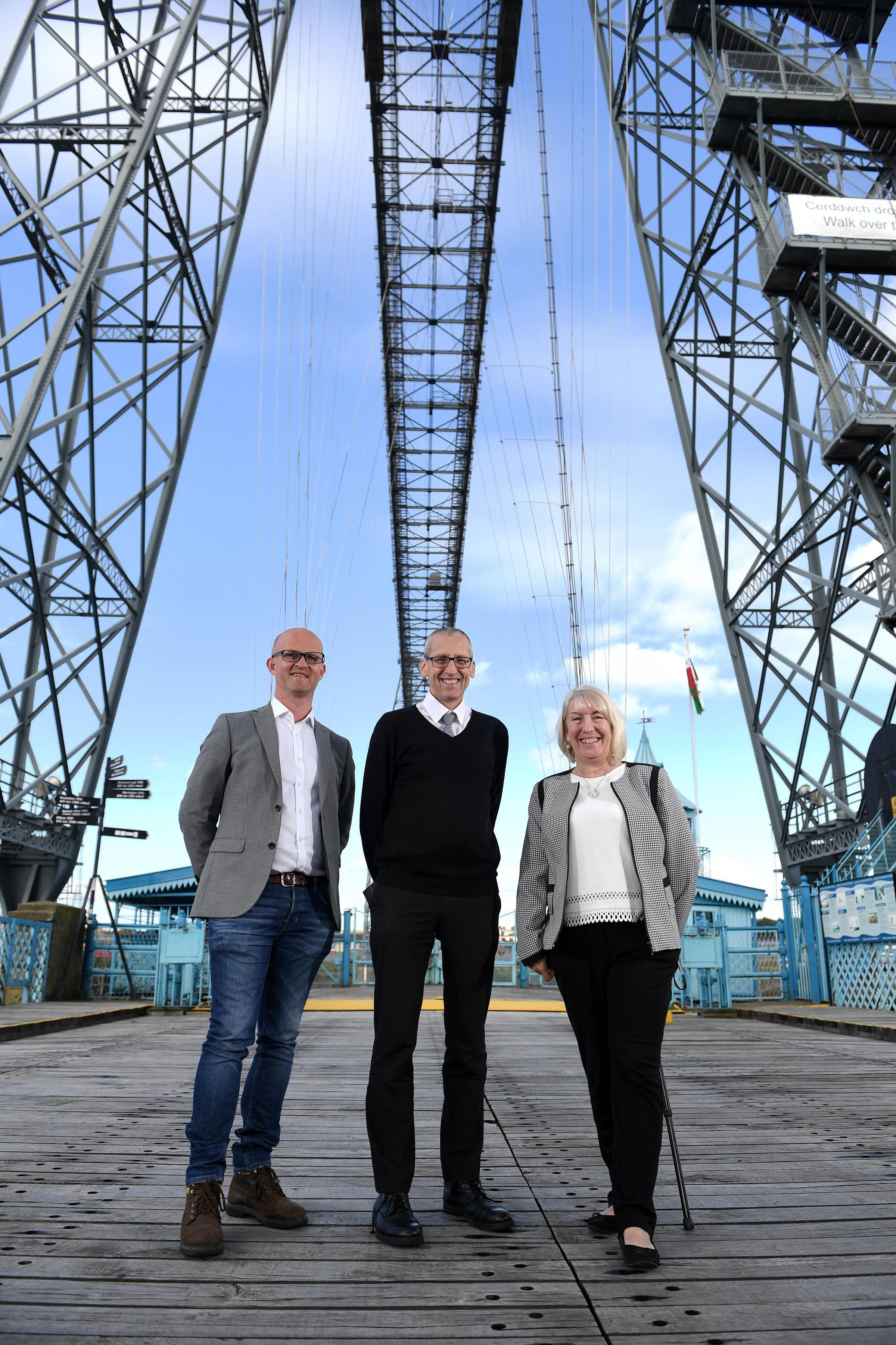 The Newport Transporter Bridge, is offering free tours to the pubic as part of the Welsh Government's Open Doors Programme. Pictured here from left to right are Jason Thomas, Cadw Spokesperson, Mike Lewis, Newport City Council Museums and Heritage Off