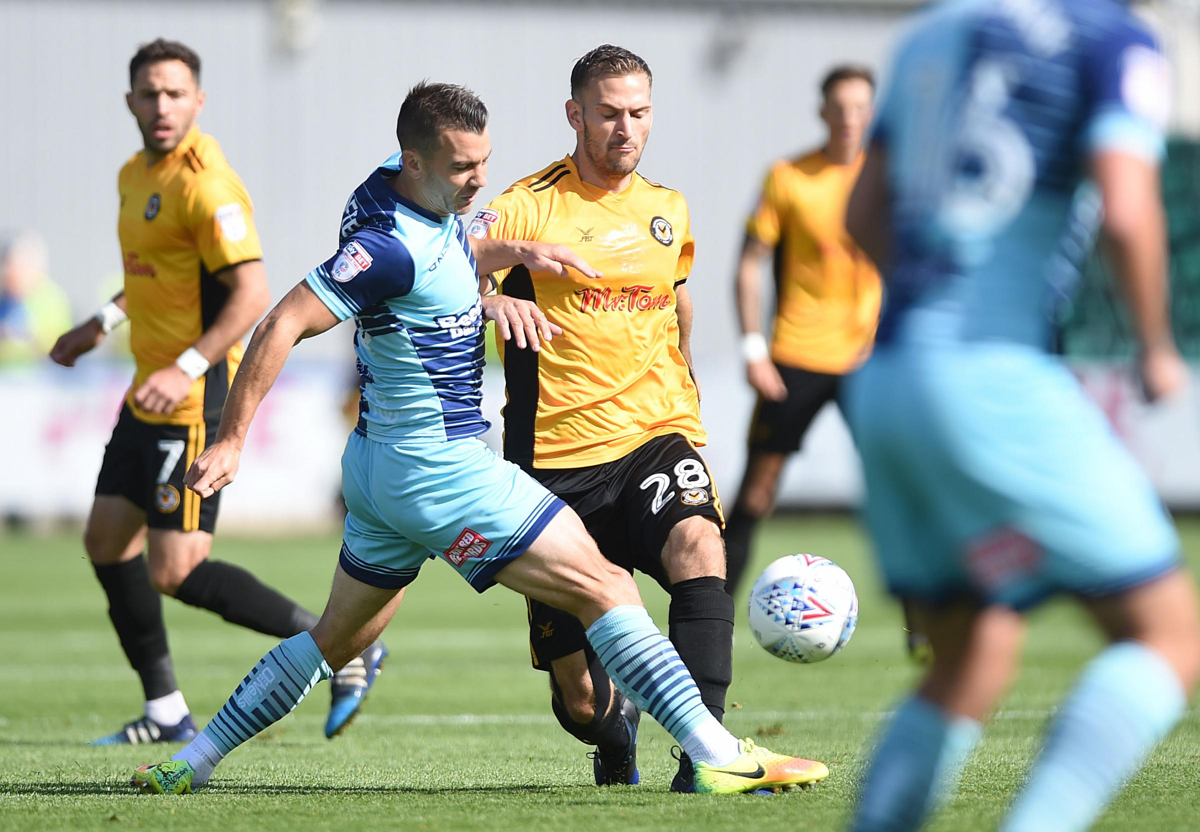 PARADE POINT: Mickey Demetriou battles for the ball. Picture: Huw Evans Agency