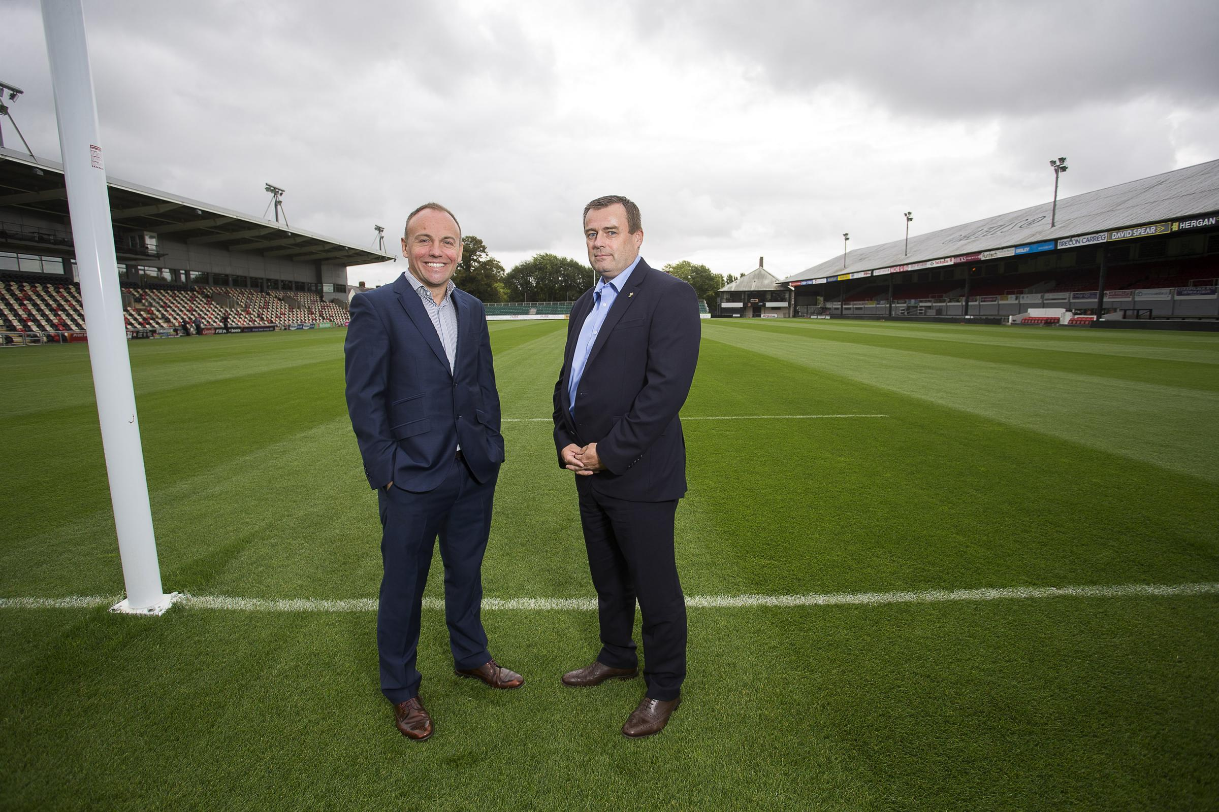 APPOINTMENT: New Dragons chairman David Buttress with Welsh Rugby Union chief executive Martyn Phillips