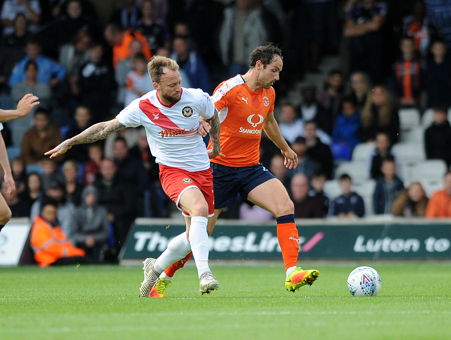 DEFEAT: Sean Rigg in action for Newport County at Luton Town. Pictures: Huw Evans Agency