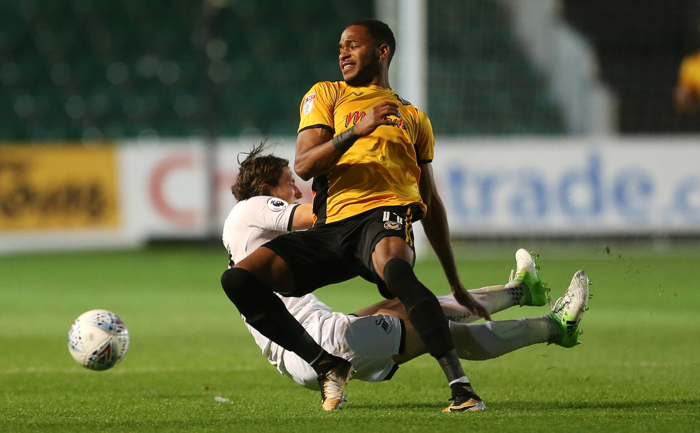 STAR MAN: Lamar Reynolds in action for Newport County against Swansea City under-21s. Pictures: Huw Evans Agency