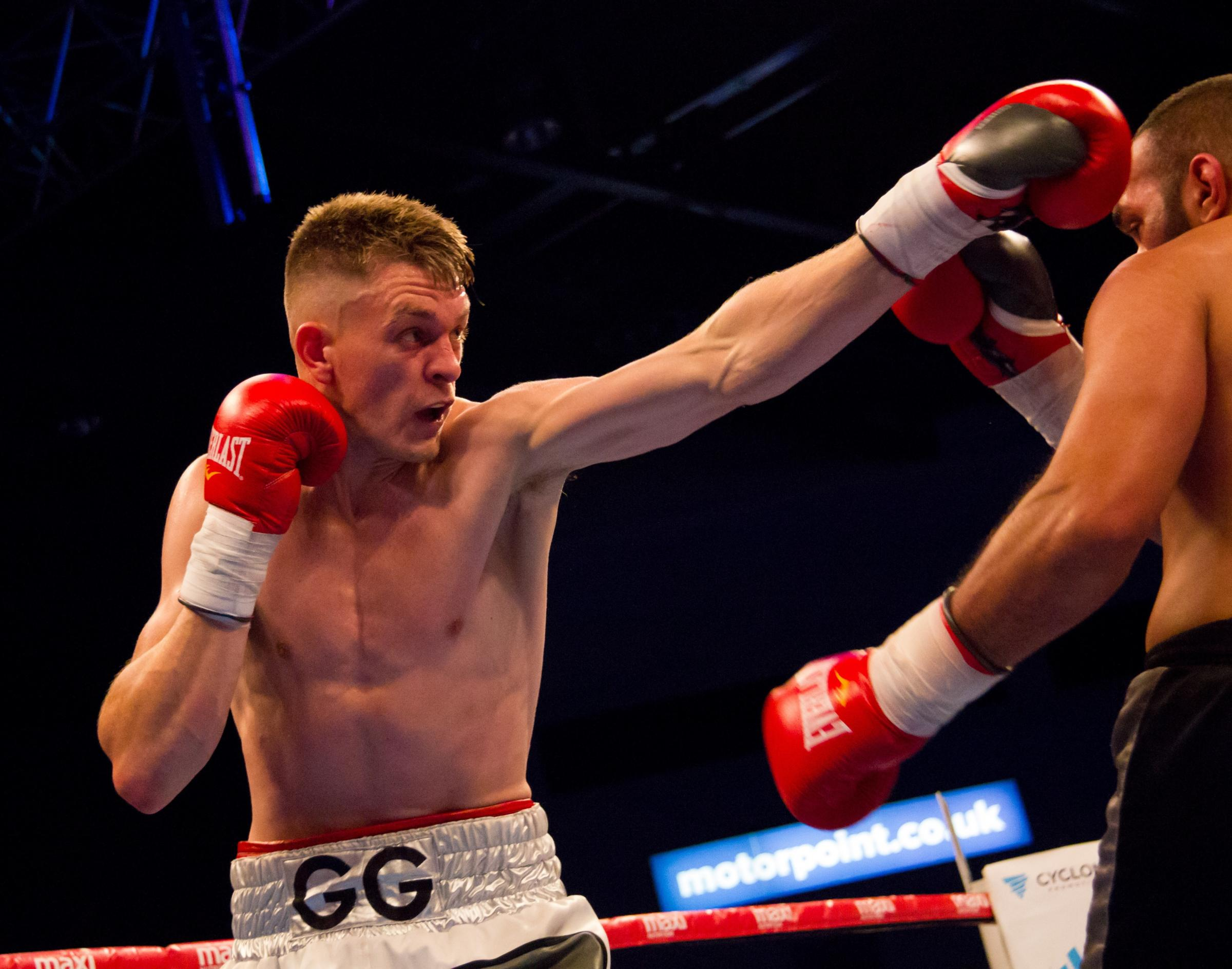 ON TITLE TRAIL: St Joseph's fighter Gavin Gwynne on his way to victory over Ibrar Riyaz. Picture: liamhartery.com