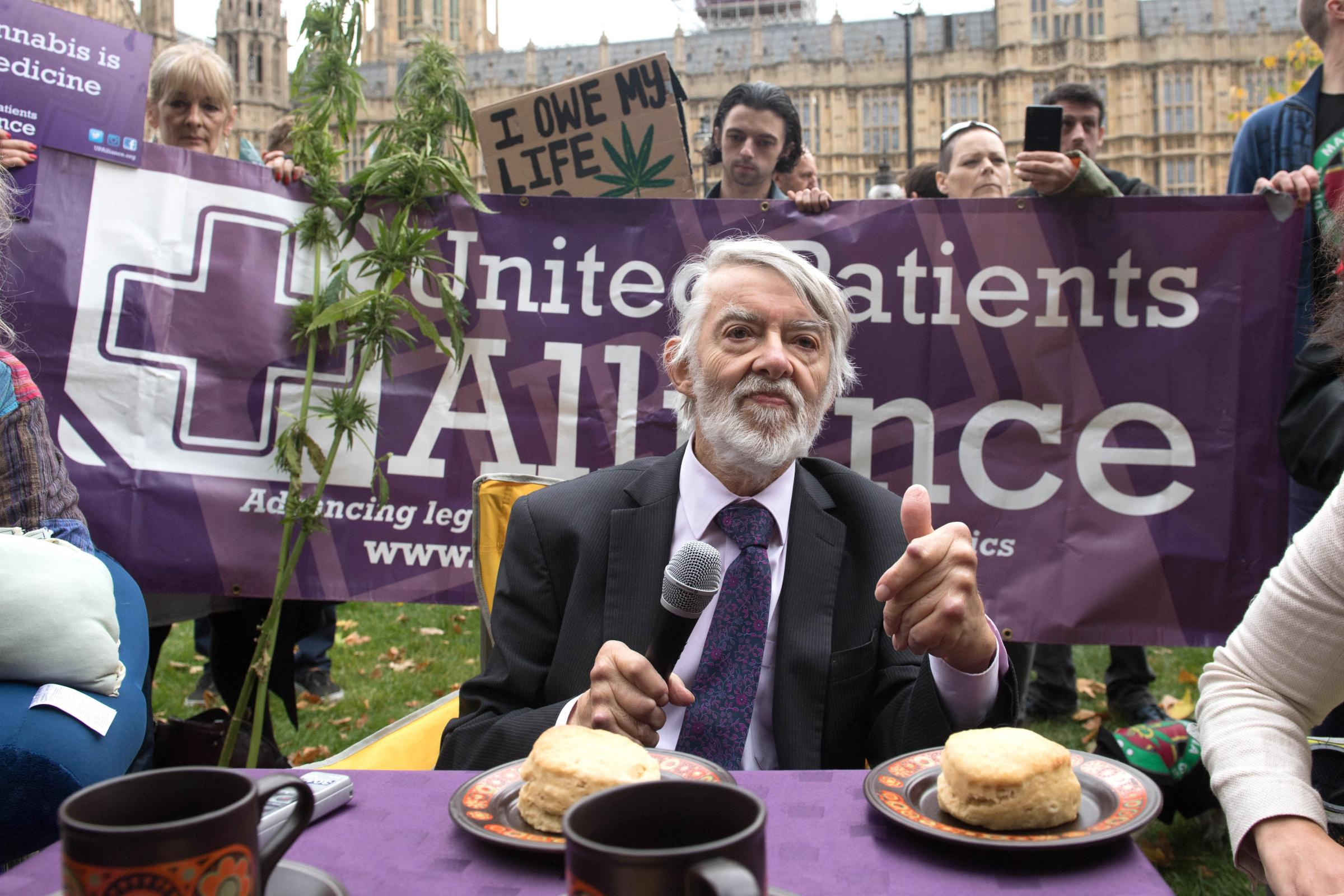 Labour MP Paul Flynn speaks at a cannabis tea party outside London's Houses of Parliament in October 2017