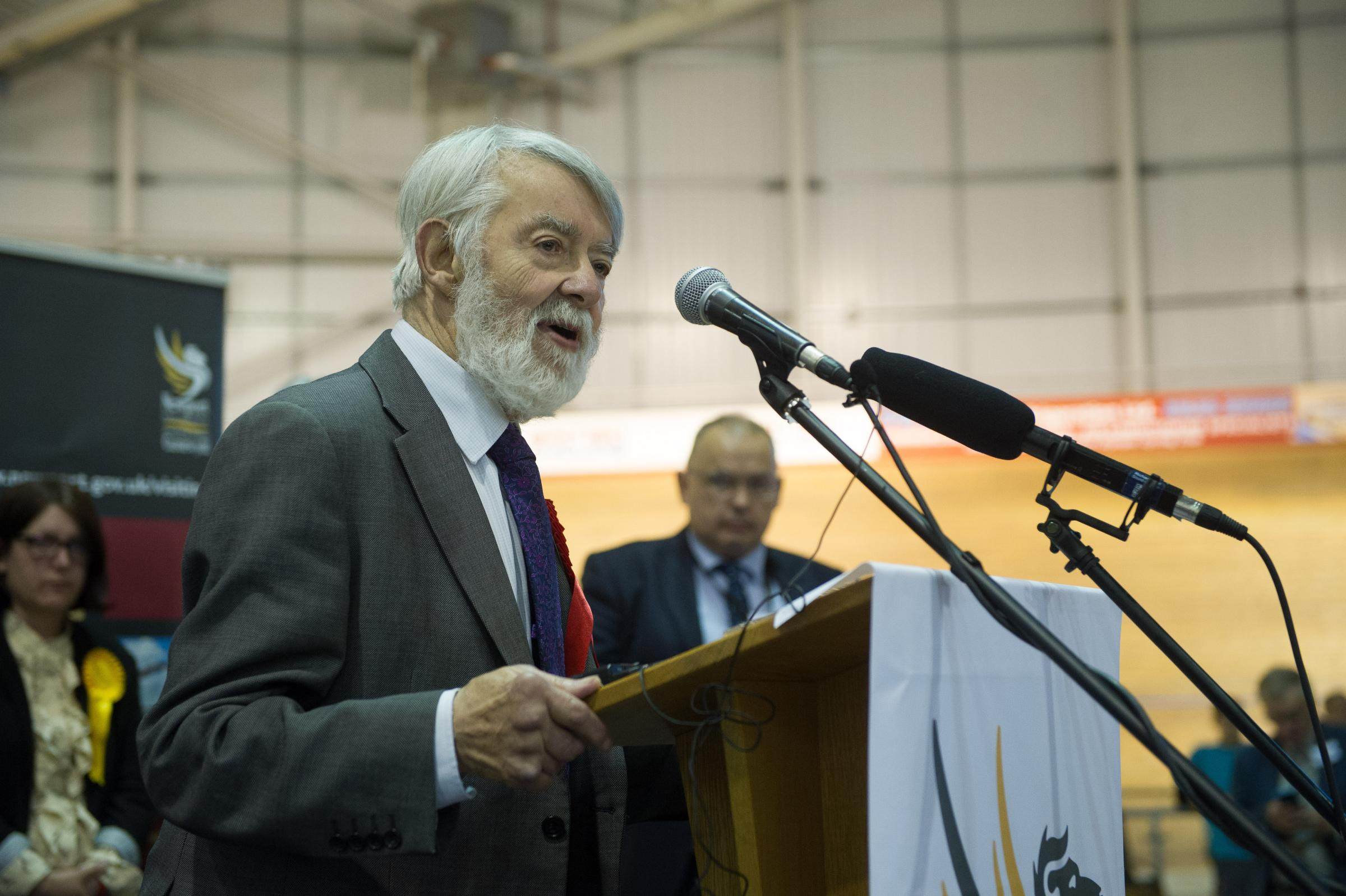 Paul Flynn celebrates retaining his Newport West seat.