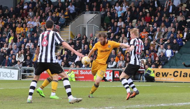 SPECIAL MOMENT: Mark O'Brien scores against Notts County two years ago to keep the Exiles in the Football League