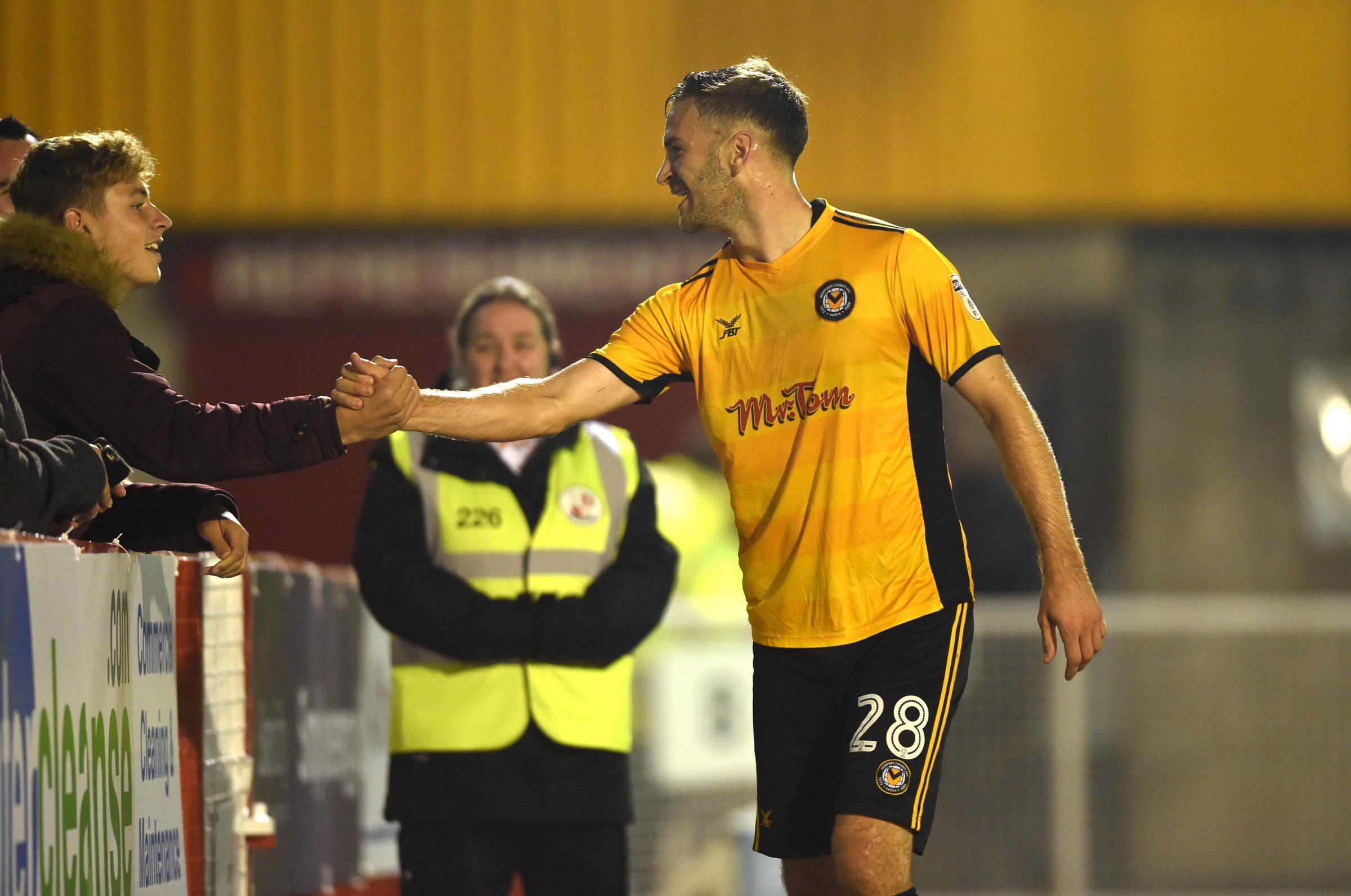SUPPORT: Mickey Demetriou and teammates want to put on a performance for the Newport County fans. Picture: Huw Evans Agency