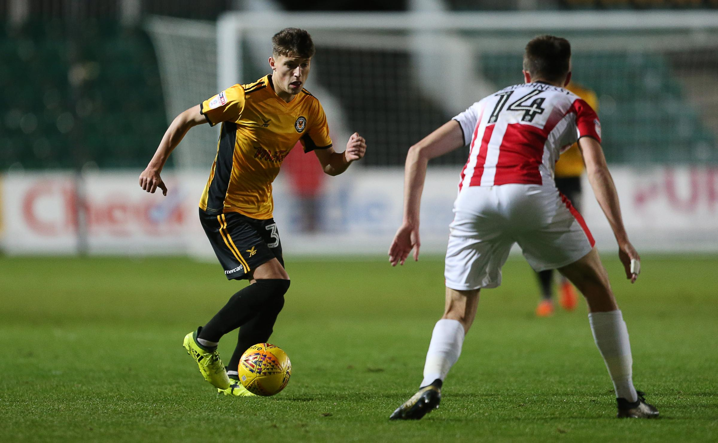DEBUT: Newport County academy star Tom Hillman  in action against Cheltenham Town. Pictures: Huw Evans Agency