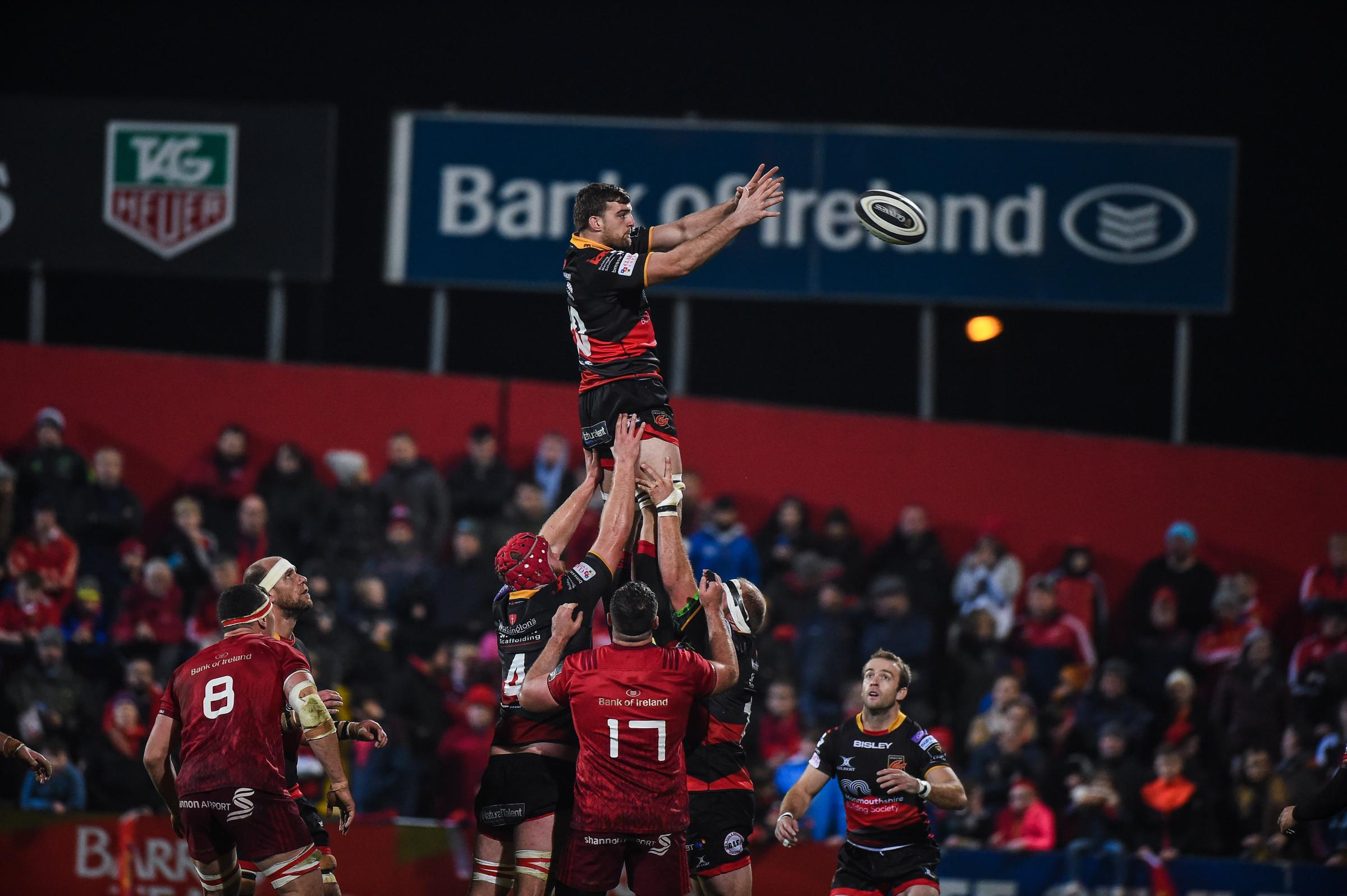 OPPORTUNITY KNOCKS: Flanker Ben Roach claims the ball on his Dragons debut at Munster