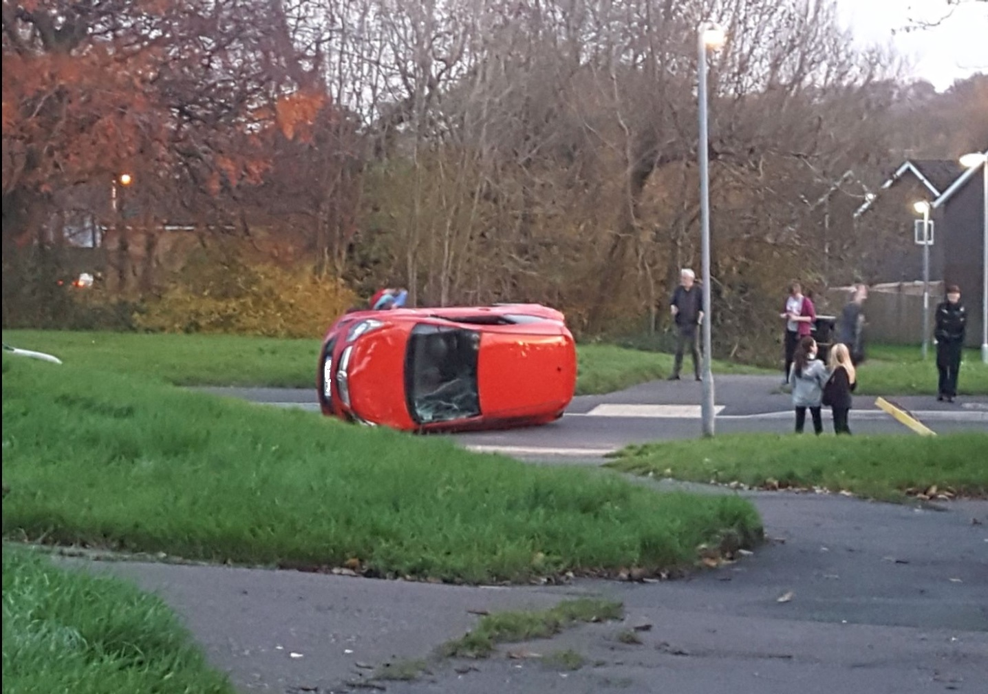 Driver avoids injury as car overturns in Cwmbran. Picture: Bethany Baber