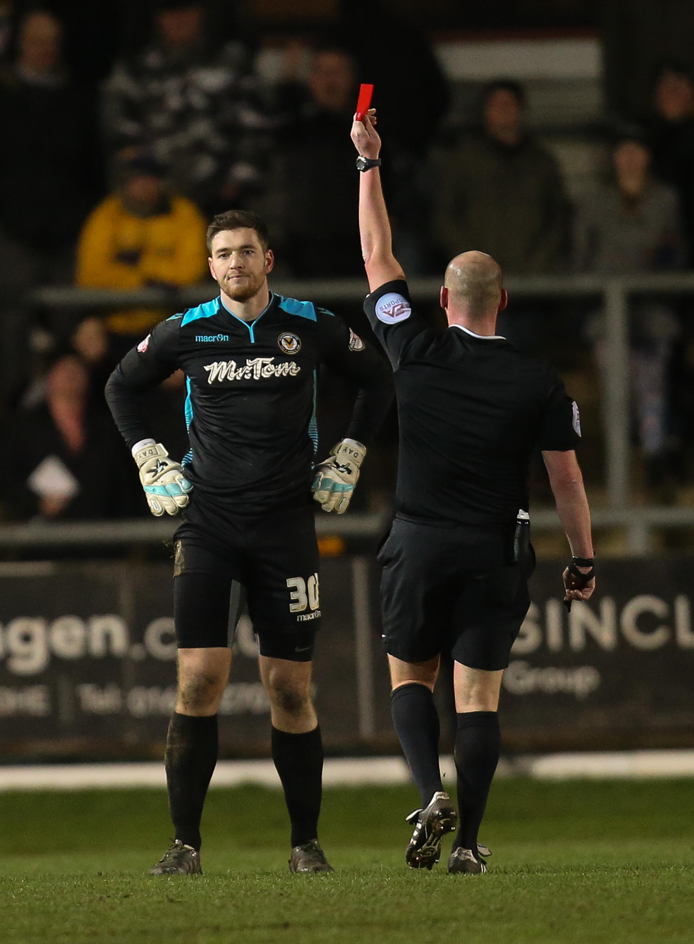 EARLY BATH: Joe Day is sent off against Blackburn last January