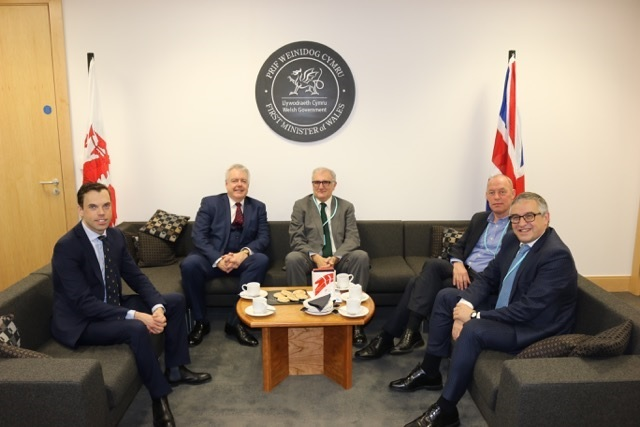 Andrés Arizkorreta, CEO for Construcciones y Auxiliar de Ferrocarriles (CAF) met with Welsh First Minister Carwyn Jones and Cabinet Secretary for Economy and Transport Ken Skates, to update them on progress for the construction of the new factory b