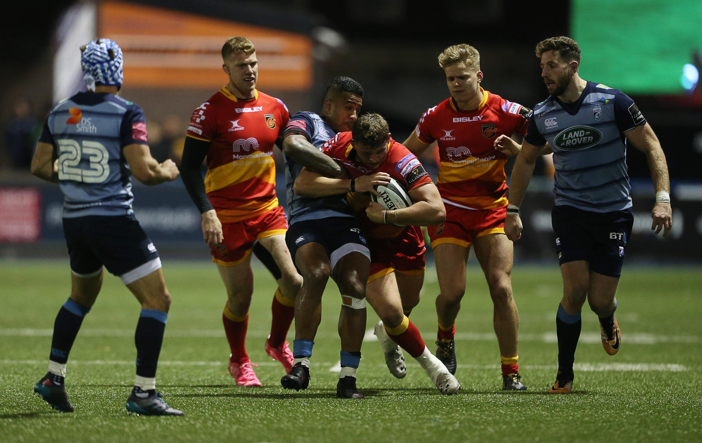 DERBY BATTLE: Elliot Dee on the charge for the Dragons at Cardiff Blues in October