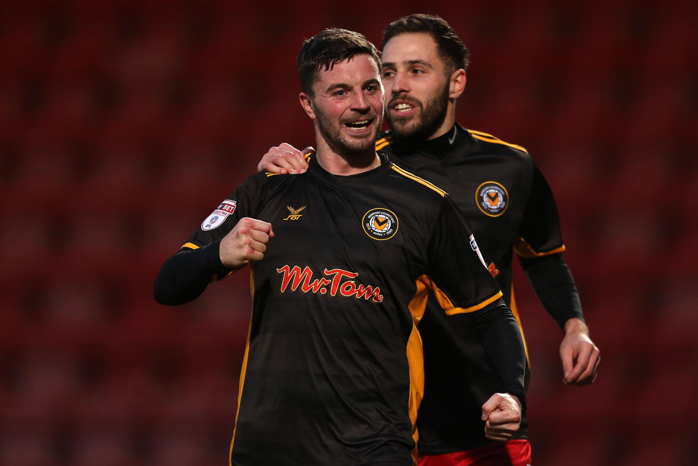 GOAL: Padraig Amond gave Newport County the lead at Cheltenham Town. Pictures: Huw Evans Agency