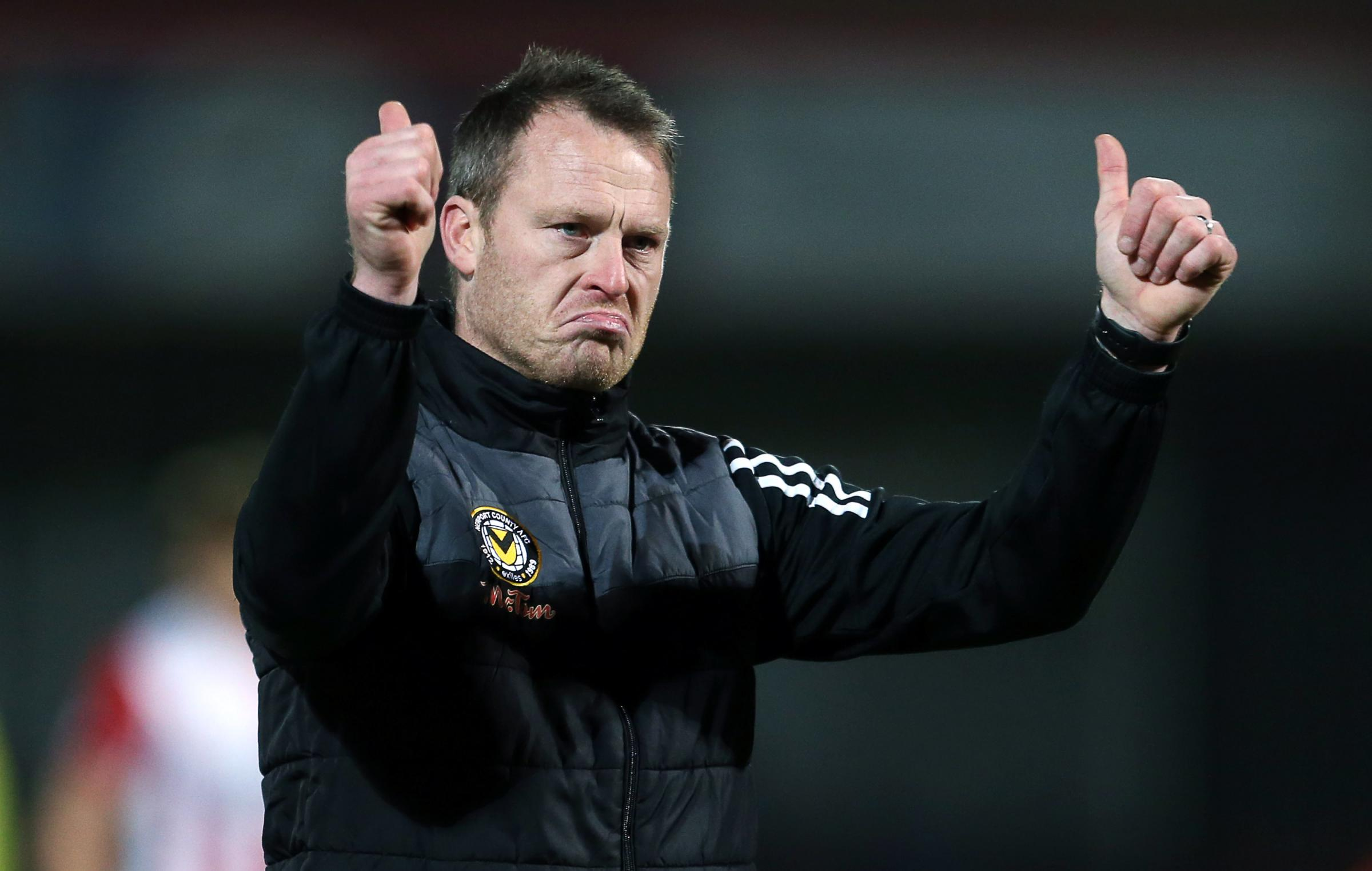 FRUSTRATED: Newport County boss Michael Flynn reacts to his team's draw at Cheltenham Town. Pictures: Huw Evans Agency