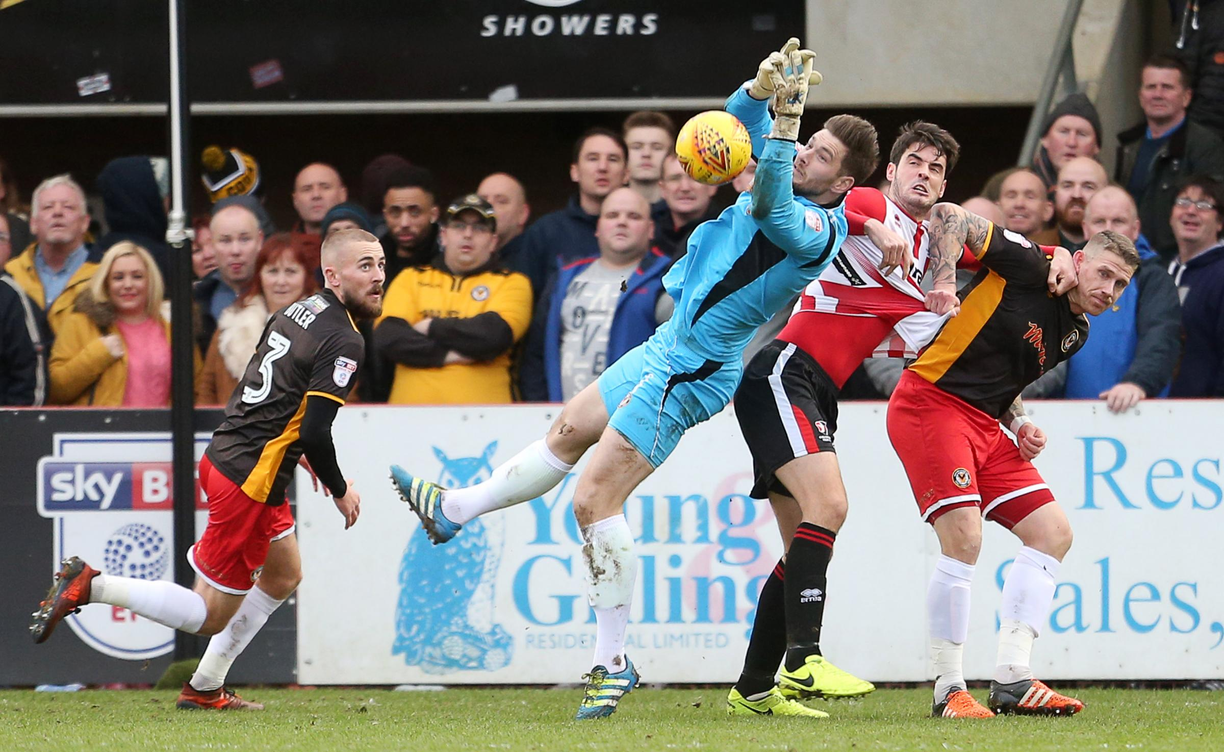STAR MAN: Goalkeeper Joe Day in the thick of the action for Newport County at Cheltenham Town on Saturday. Pictures: Huw Evans Agency